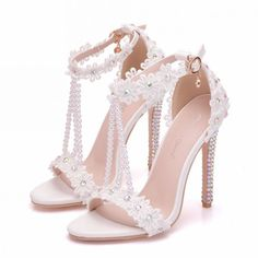 Charming White Wedding Shoes 2018 Lace Flower Rhinestone Ankle Strap Pearl T-Strap 9 cm Stiletto Heels Open / Peep Toe Wedding High Heels - Schuhe Wedding High Heels, White Wedding Shoes, Lace Wedding, High Heels For Prom, Casual Wedding, Rustic Wedding, Wedding Dress, High Heels Outfit, Peep Toe
