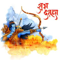 illustration of Lord Rama in Navratri festival of India poster with message in Hindi meaning wishes for Dussehra Happy Dusshera, Happy Ram Navami, Dussehra Greetings, Happy Dussehra Wishes, Festivals Of India, Indian Festivals, Happy Dussehra Wallpapers, Happy Navratri Images, Frases
