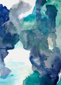 Blue Abstract Print Art, Navy Blue Art Print, Abstract Wall Decor, Blue Office Artwork, Begin