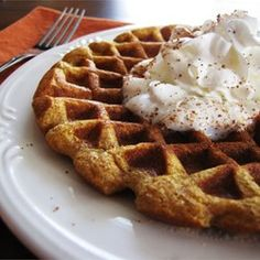 Cinnamon Pumpkin Waffles Recipe - freeze them and reheat in the toaster for a quick, easy breakfast.