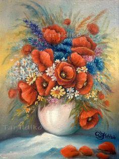 Kép címe: pipacsok búzavirággal<br />Mérete: 40x30 cm<br />Anyaga: Olaj, kasírozott vászon<br />Alkotó: Tar Ildikó festőművész
