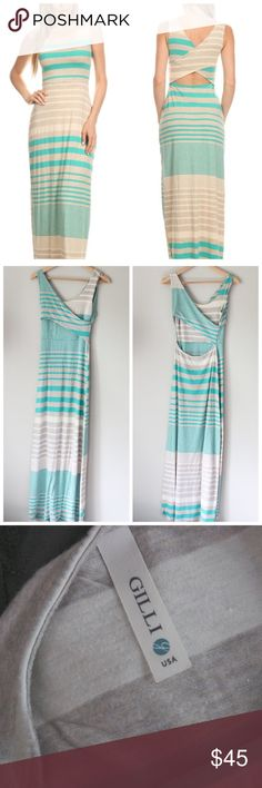 Cross Back Striped Stretchy Maxi Dress Super cute and uber comfy maxi dress with crossed straps in the back and sleeveless design. Tan and teal stripes. From Stitchfix originally. In excellent gently used condition. Gilli Dresses Maxi
