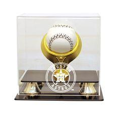 Houston Astros MLB Single Baseball Gold Ring Display