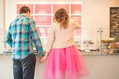 A Pink Tulle Skirt and Gold Sequin Blazer | Sounds Like Yellow Photography | See More! http://heyweddinglady.com/glitter-and-peonies-and-cupcakes-oh-my-a-bake-shoppe-engagement-from-sounds-like-yellow-photography/