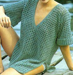 Patrón Para Tejer Blusa a Crochet. Gráficos para tejer a crochet