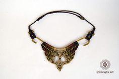 Macramè Halskette auf Basis aus Messing mit von ShirivastArt