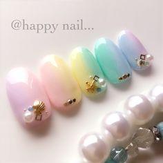 # Nailbook # Gradation # Pastel # Resort # Gel Nail # Hand # Medium # Chip # @ happynail # Nail Book