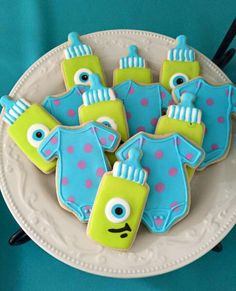 Monster cookies Boy Baby Shower Themes, Baby Shower Balloons, Baby Shower Parties, Baby Boy Shower, Monsters Inc Baby Shower, Monster Baby Showers, Monsters Inc Cookies, Monster Inc Cakes, Magnum Paleta