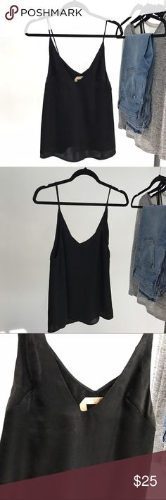 SATIN Tank Top NWOT. Black silky satin tank top. Pair it with a tee shirt for that trendy 90s look ✌️ ecru Tops Tank Tops