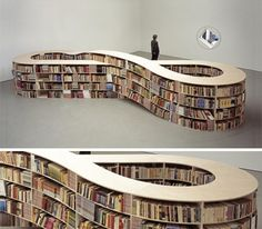 Where does one keep an infinite number of books? In the Infinity Bookcase, of course! Dutch conceptual artist Job Koelewijn created this large-scale figure 8 bookcase to reflect both the infinite power of books as they relate to the infinite nature of knowledge. It's hard to say how readers access the inner shelves of the bookcase… but with infinite time, someone will surely figure it out.