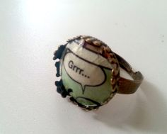 "Ring ""Grrr...."" Comic bronze orange blau von KISS Knowledge Is So Sexy auf DaWanda.com"