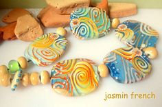 jasmin french ' on the beach - seeking shells ' lampwork beads set glass art