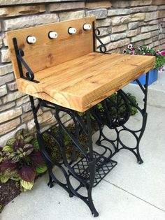 """Reclaimed pine top with antique treadle sewing machine base. """"Hooks"""" are repurposed ceramic insulators. This table could serve many purpos. Sewing Machine Tables, Sewing Machine Projects, Treadle Sewing Machines, Antique Sewing Machines, Sewing Tables, Furniture Making, Diy Furniture, Antique Furniture, Singer Table"""