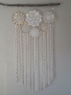dream catcher with high quality Egyptian cotton yarn in white and cream with wool and cotton ribbons, lace, wooden hoops t. Big Dream Catchers, Beautiful Dream Catchers, Dream Catcher White, Large Dream Catcher, Bohemian Accessories, Bohemian Decor, Boho, Decoration Originale, Wooden Hoop