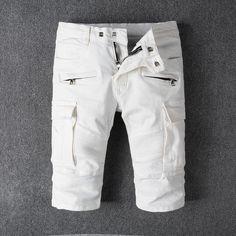 4bb8732370 2018 New Summer Fashion Men s Jeans Shorts White Color Big Pocket Cargo  Shorts Men High Street