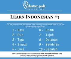 Learn basic Indonesian language skills with our 40+ language videos.   Here is a free lesson: Counting in Indonesian....find more language videos on our YouTube channel and Facebook page @volunteerguidebali...www.volunteerguidebali.com