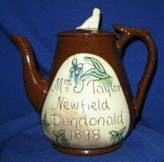 1 DAY AUCTION SALE - Antique Scottish Cumnock Redware Sgraffito Pottery Teapot Taylor Dundonald 1898