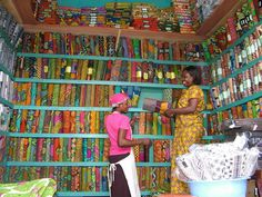 African fabrics in Kumasi, Ghana.