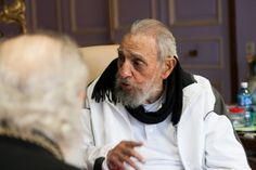 Cuba's former president Fidel Castro (R), pictured on February 13, 2016, scoffed at what he described as Barack Obama's call to forgive and forget more than half a century of Cold War enmity