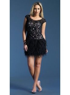 Scoop Short Black Lace A Line Party  Graduation Dress USD $234.99