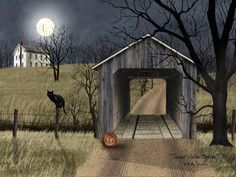 Art Print, Framed or Plaque by Billy Jacobs - Sleepy Hollow Bridge - Halloween Painting, Halloween Prints, Halloween Pictures, Spooky Halloween, Holidays Halloween, Vintage Halloween, Sleepy Hollow Halloween, Happy Halloween, Halloween Rules