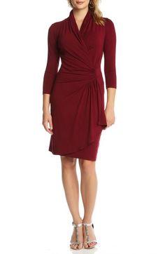 Karen Kane Three-Quarter Sleeve Jersey Cascade Faux Wrap Dress available at…