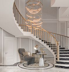 Staircase Interior Design, Luxury Staircase, Home Stairs Design, Home Building Design, Home Interior Design, Marble Staircase, Plafond Design, Classic House Design, Decor Home Living Room