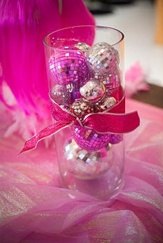 This is a cool centerpiece for a dance party, I just don't know where to get the mini disco ball Disco Birthday Party, 70s Party, 70th Birthday Parties, Party Time, Disco Party Decorations, Party Centerpieces, Disco Theme, Christmas Party Themes, Sofia Party