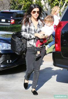 Kourtney Kardashian wearing Prada Baby Bag Hermes Tassel Keychain in Black Kardashian Kollection Aviator Sunglasses