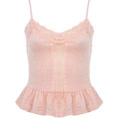Miss Selfridge Blush Peplum Jacquard Cami (€7,02) ❤ liked on Polyvore featuring tops, shirts, powder blush, pink top, pink peplum top, peplum tank top, peplum tops and pink peplum shirt