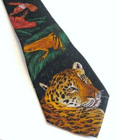 World Wildlife Fund Jaguar Mens Tie Green Silk Animals Vintage 1991 Classic  #WorldWildlifeFederation #NeckTie