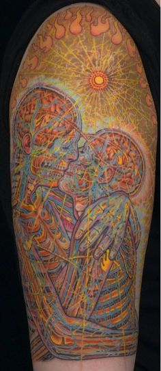 Tattoo: Alex Grey is one of my favorite artists, and this is an amazing rendition of his piece The Kiss, I'm speechless,
