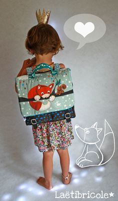 Le petit cartable Creation Couture, Couture Sewing, Kids Bags, Kids Backpacks, Kids And Parenting, Cute Kids, Purses And Bags, Fox, Crochet
