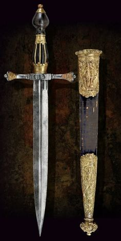 A beautiful Renaissance dagger with scabbard  Germany, last quarter of the 16th Century
