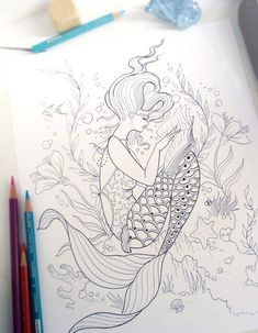 Reading Mermaid Coloring Page - Instant Download Print Your Own Coloring Pages Adult Coloring Book