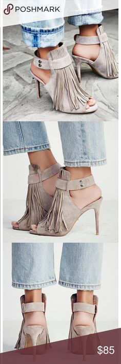 """Free People Fringe Heels by matiko Suede stiletto mules with statement fringe and open toes. Sling-back design with snap closures. Brand is Matiko sold by Free People  Suede Import Heel: 4.25"""" = 10.8 cm Free People Shoes Heels"""