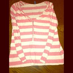 Old Navy Coral Striped Long Sleeve Tee Old Navy coral striped long sleeve tee. Button embellishments in the front. Size L. Worn a few times. Old Navy Tops Tees - Long Sleeve