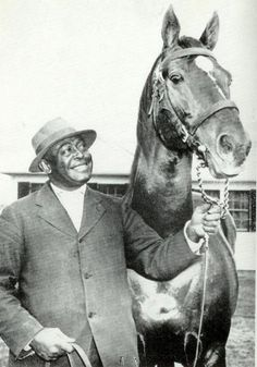 "Man O' War with Will Harbut. . . ""The MOSTEST horse!'  You can never have too many photos of Man O'War!"