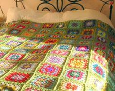 La abuela cuadrados ganchillo manta afgana manzana verde