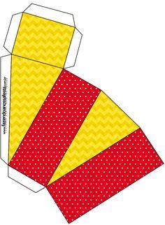 Caixa Fatia Poá Vermelho e Listras Amarelo: