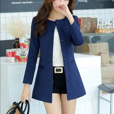 Blue Coat Super cute, soft worsted fabric (yarn) long coat. Looks exactly like in the picture.   Made for petites, size small (fits like XS/S).  Bust:88cm, Length:78cm, Sleeve Length:57cm, Across Shoulder:37cm, Hem:102cm, Waist:81cm Jackets & Coats Trench Coats