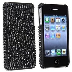 Black Rhinestone Bling Hard Case Cover Compatible With iPhone 4 4G iPhone 4S - AT, Sprint, Verizon 16GB 32GB 64GB