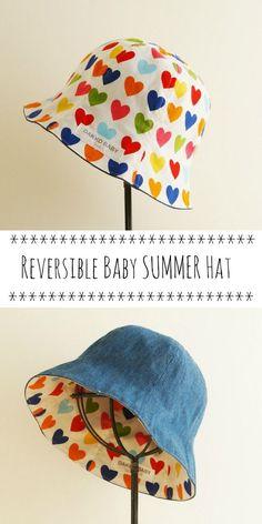 Baby girl sun hat - heart print cute denim reversible summer hat - made to  order 08f353402c7