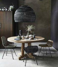 lámpara de mimbre de techo para mesa de comedor