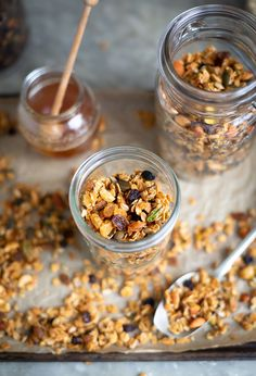 A delicious and easy honey, seed & nut granola with raisins recipe.