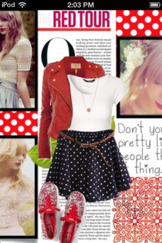 Edgy and girly look with red, black, and white!