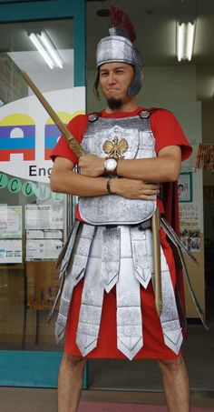 #DIY Roman Soldier costume. The example one would be an over the top amount of work for a school project, but the material ideas are great!
