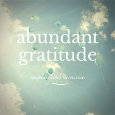 31 Days of Abundant Gratitude for the things all around  me every day. www.airplanesfromheaven.com/abundant-gratitude-31-days-2014