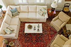 Linda Merrill Portfolio-Duxbury-Casual LIving Room 5-Interior Design-Massachusetts Red oriental rug, sectional sofa, tan arm chairs, great room