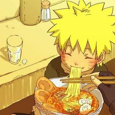 So cute little Naruto eating Ramen, helped by Iruka Sensei probably ♥♥♥